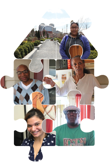 Photo collage of MHSA program participants in a jigsaw puzzle